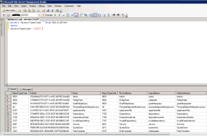 Get Object Type codes by Sql Query