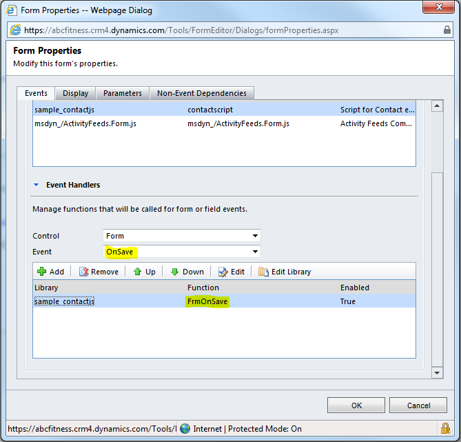 jscript validation on activationdeactivation of record in
