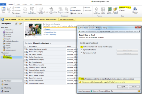 Export Data to Excel Dialog Box