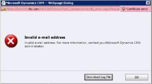 Invalid Email Address Error