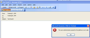 User Authentication Invalid