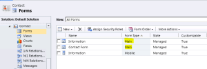 Contact Entity Multiple Forms