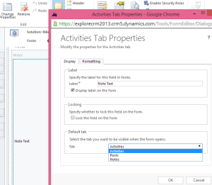 Activities Tab Properties