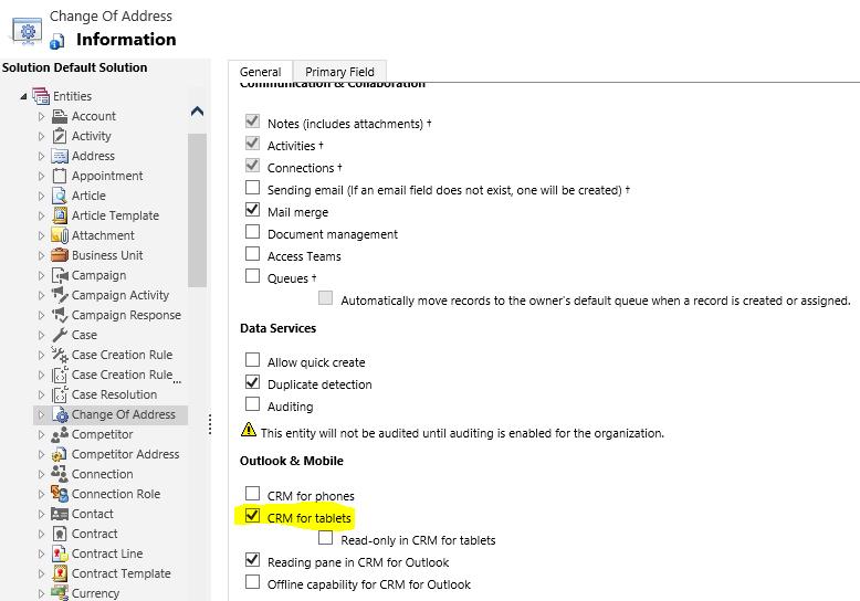 Display Custom Entity on IPad or Windows 8 CRM App Home Screen