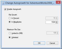 Auto Growth Setting