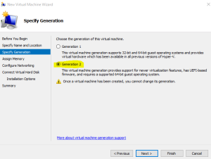 Hyper V - Generation options