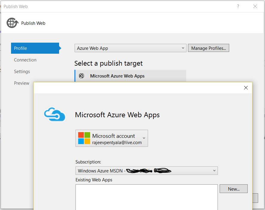 Publish Web' option not showing up existing Azure Web Apps – Visual