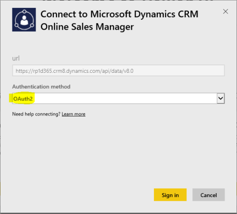 D365 - Power BI - Connect To CRM - OAuth