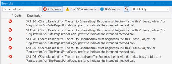 StyleCop warnings failing the build in Visual Studio
