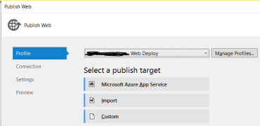 Azure - Web Deploy - Visual Studio