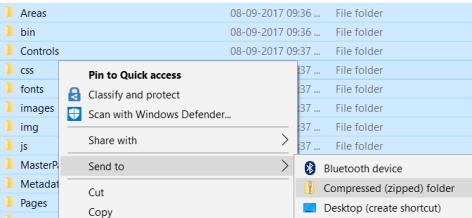 Publish Website - Zip folder