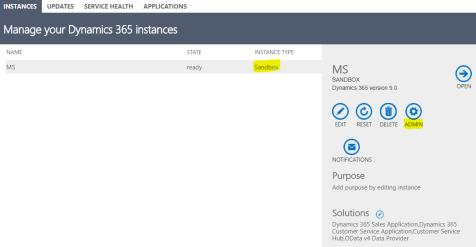 D 365 - Sandbox Instance