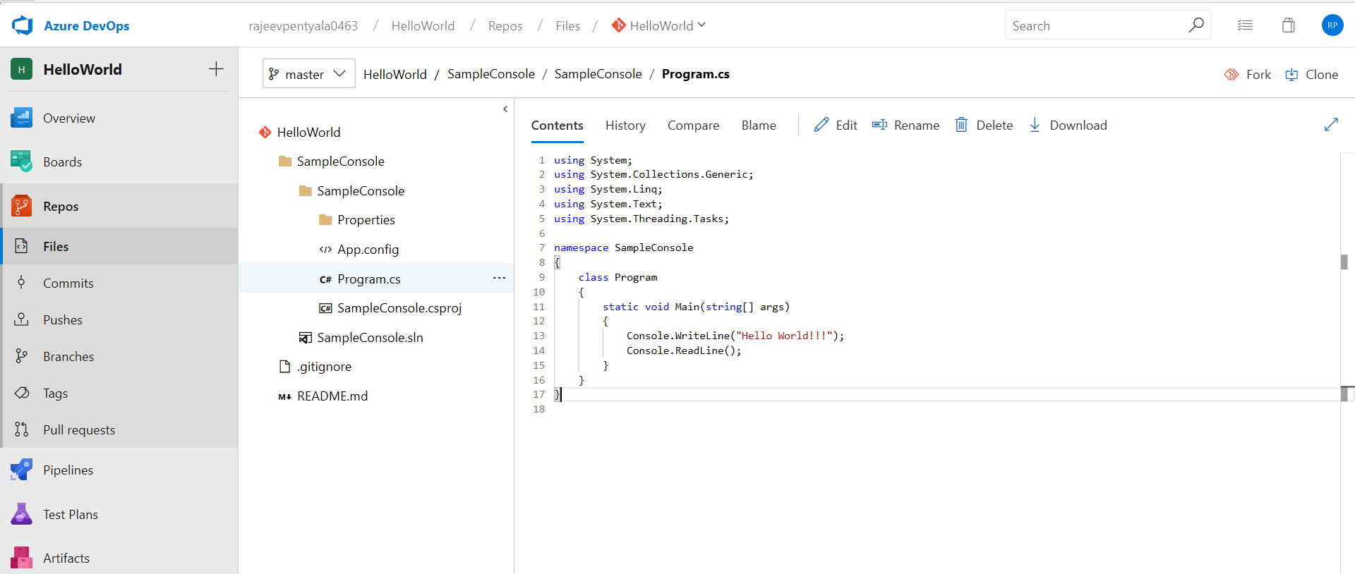 Azure DevOps – Getting started by committing a C# console